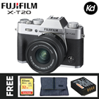 Fujifilm X-T20 Mirrorless Digital Camera with 15-45mm Lens (Silver) (Fujifilm Malaysia) (FREE 32GB High Speed Memory Card, Extra Original Battery & Camera Bag) (XT20)