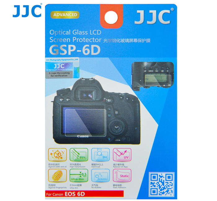 JJC GSP-6D Ultra-thin Optical Glass LCD Screen Protector for Canon EOS 6D