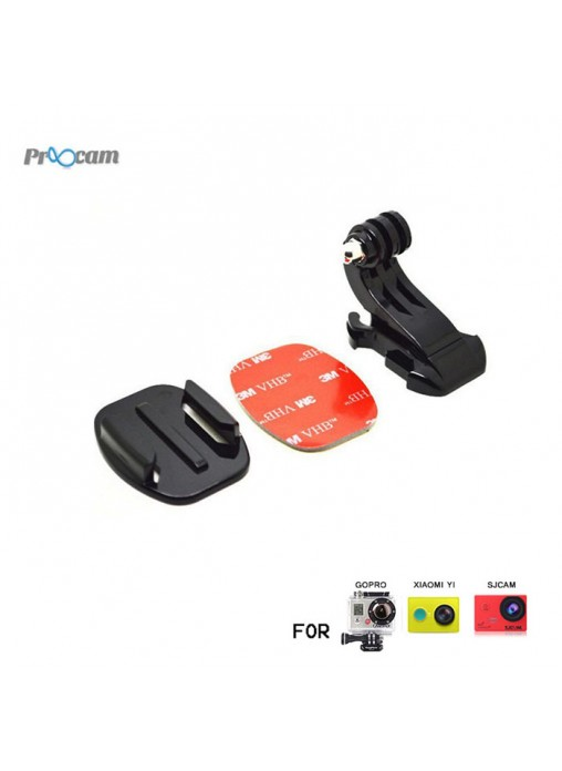 Proocam J057 : Vertical Quick Release Buckle (J-Hook) with Flat Adhesive Mount for GoPro Hero / XIaoMi Yi / SJCAM
