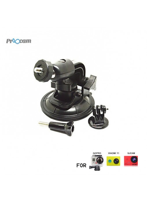 Proocam J070 : Suction Cup with Ball Head + Tripod Mount Adapter for GoPro Hero / XiaoMi Yi / SJCAM