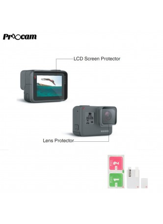 Proocam F209 Film Lens & Touch Screen Protector for GoPro HERO 7 HERO 6 HERO 5 Black