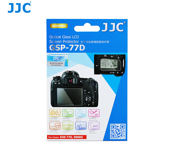 JJC GSP-77D Ultra Thin Optical Glass LCD Screen Protector for Canon EOS 77D