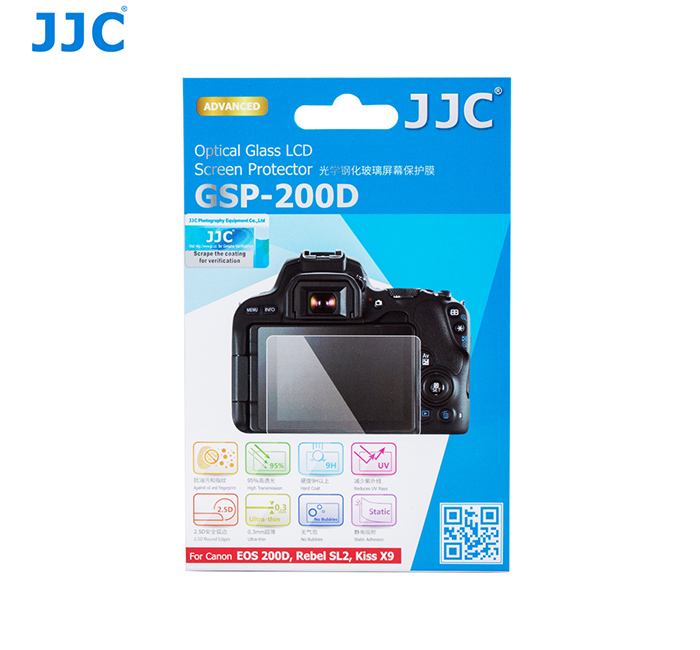 JJC GSP-200D Ultra Thin Optical Glass LCD Screen Protector for Canon EOS 200D