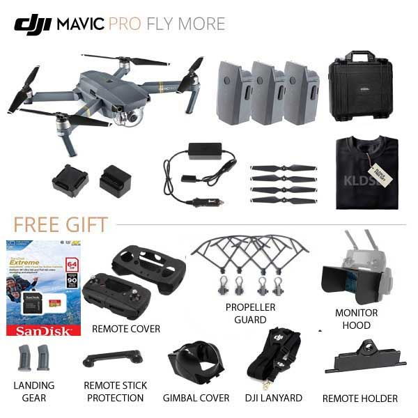 DJI Mavic Pro Fly More Combo Quadcopter PREMIUM LITE - TOTAL 3 BATTERY + KLDSLR LIMITED T-SHIRT (Refurbish by DJI)