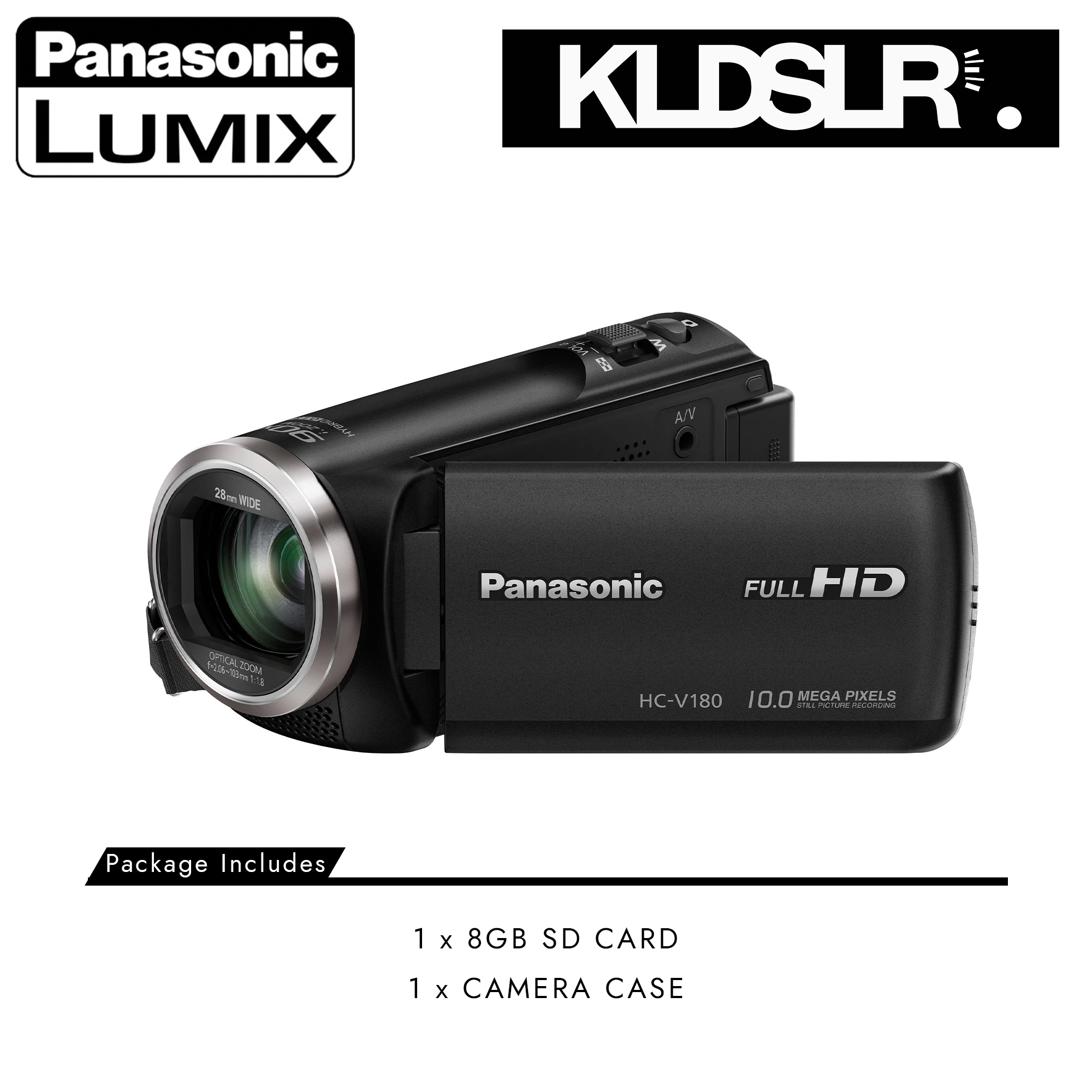 Panasonic HC-V180K Full HD Camcorder (Black) | V180K-PKG
