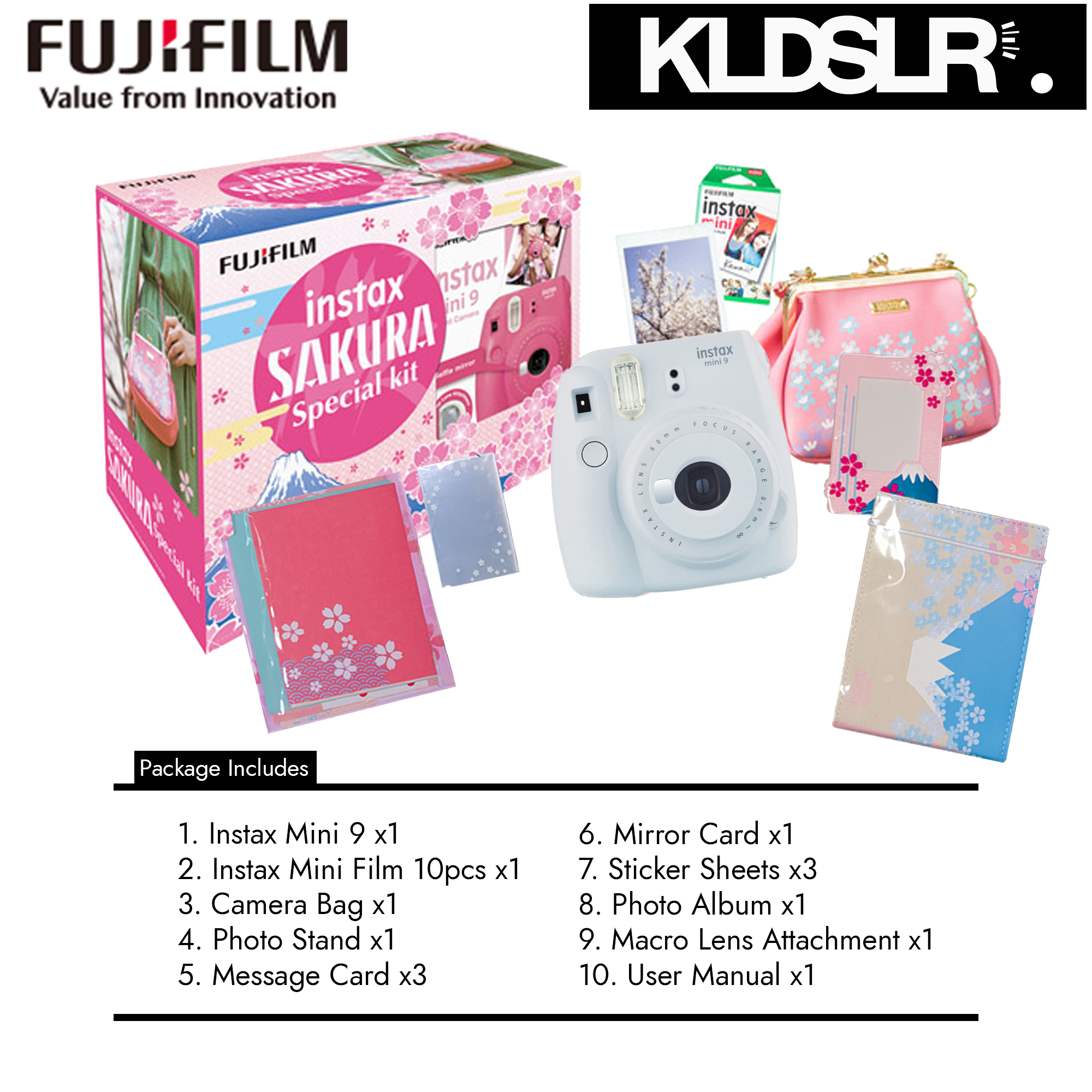 Cybermonday Fujifilm Instax Mini 9 Instant Camera Polaroid Sakura X T2 Body Black Pwp Xf 23mm F 14 Package Buy 1 Free 7 Bundle Smoky White Malaysia