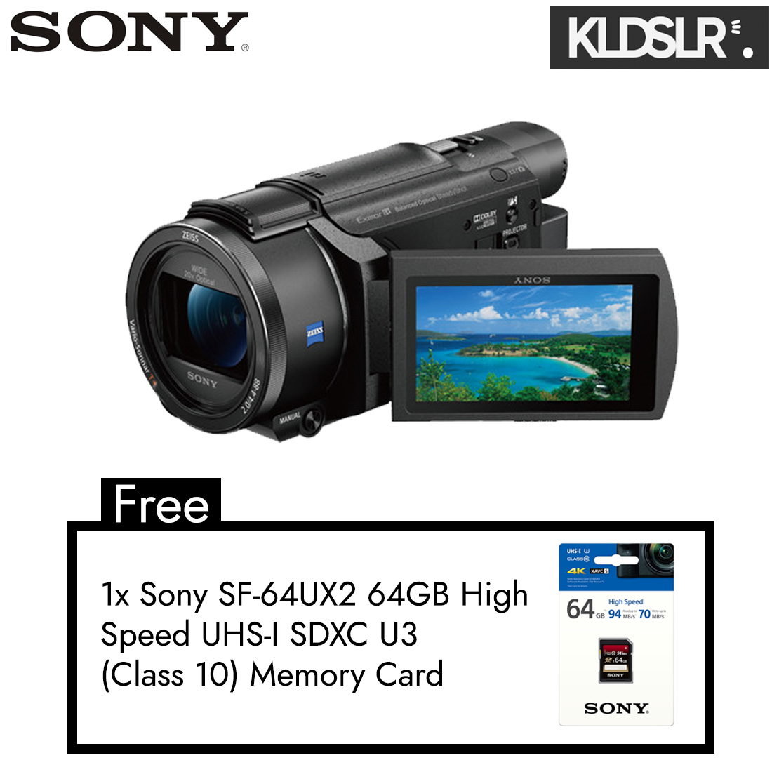 Sony FDR-AXP55 4K Handycam with Built-In Projector (PAL)