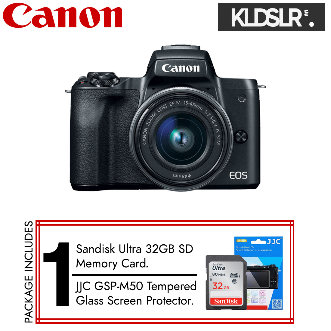 (END YEAR SALE) Canon EOS M50 with 15-45mm Lens (Black) (New 3 Months Warranty) (Free Sandisk Ultra 32GB SD Card + JJC Screen Protector)