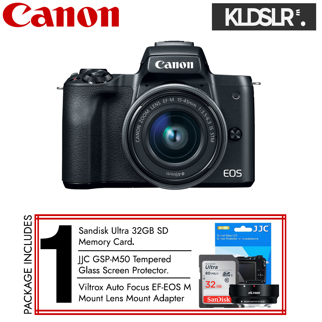 (END YEAR SALE) Canon EOS M50 with 15-45mm Lens (Black) (New 3 Months Warranty) (Free Sandisk Ultra 32GB SD Card + JJC Screen Protector + Viltrox Lens Adapter)