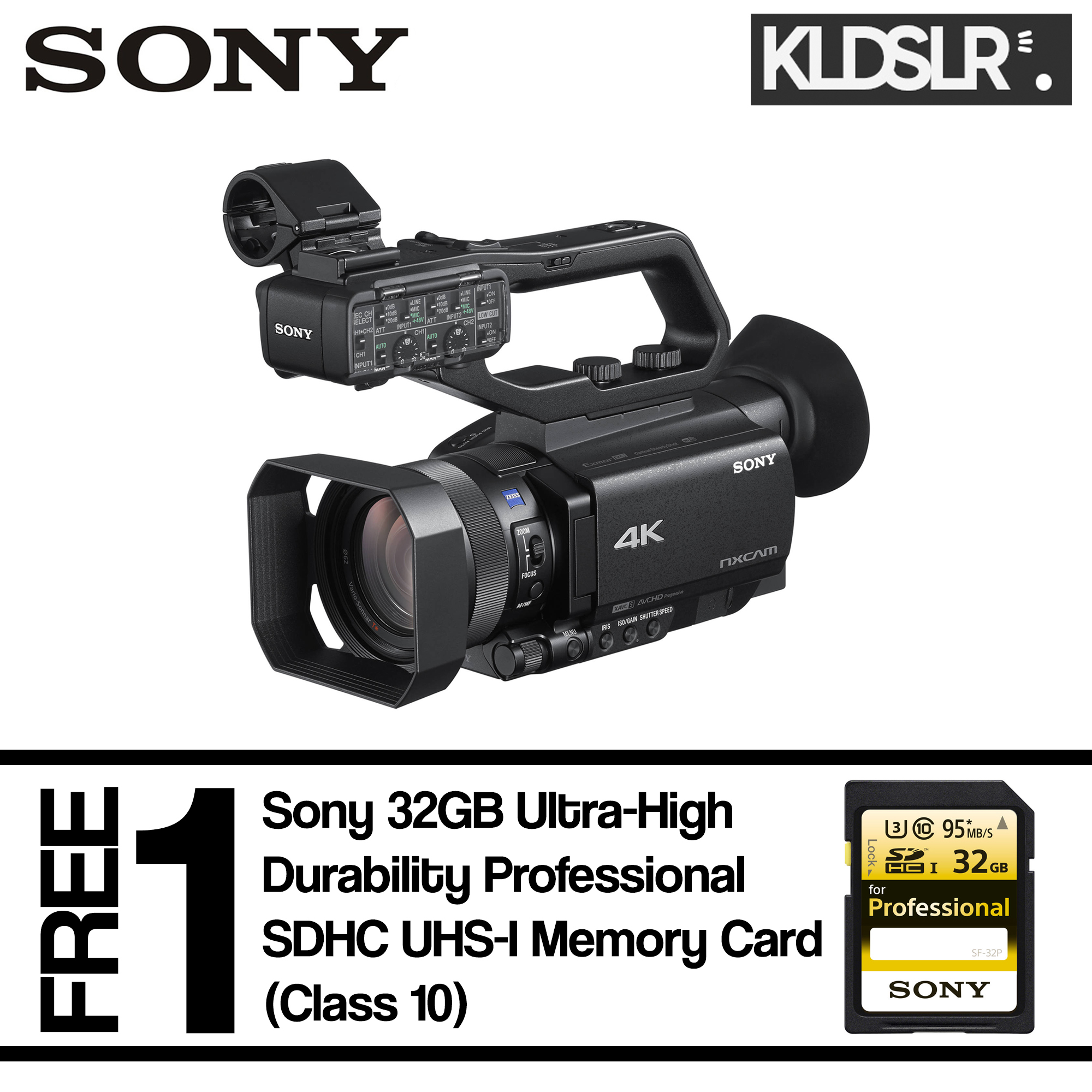 Sony HXR-NX80 Full HD XDCAM with HDR & Fast Hybrid AF (Free Sony 32GB Ultra-High Durability Professional SDHC UHS-I Memory Card)
