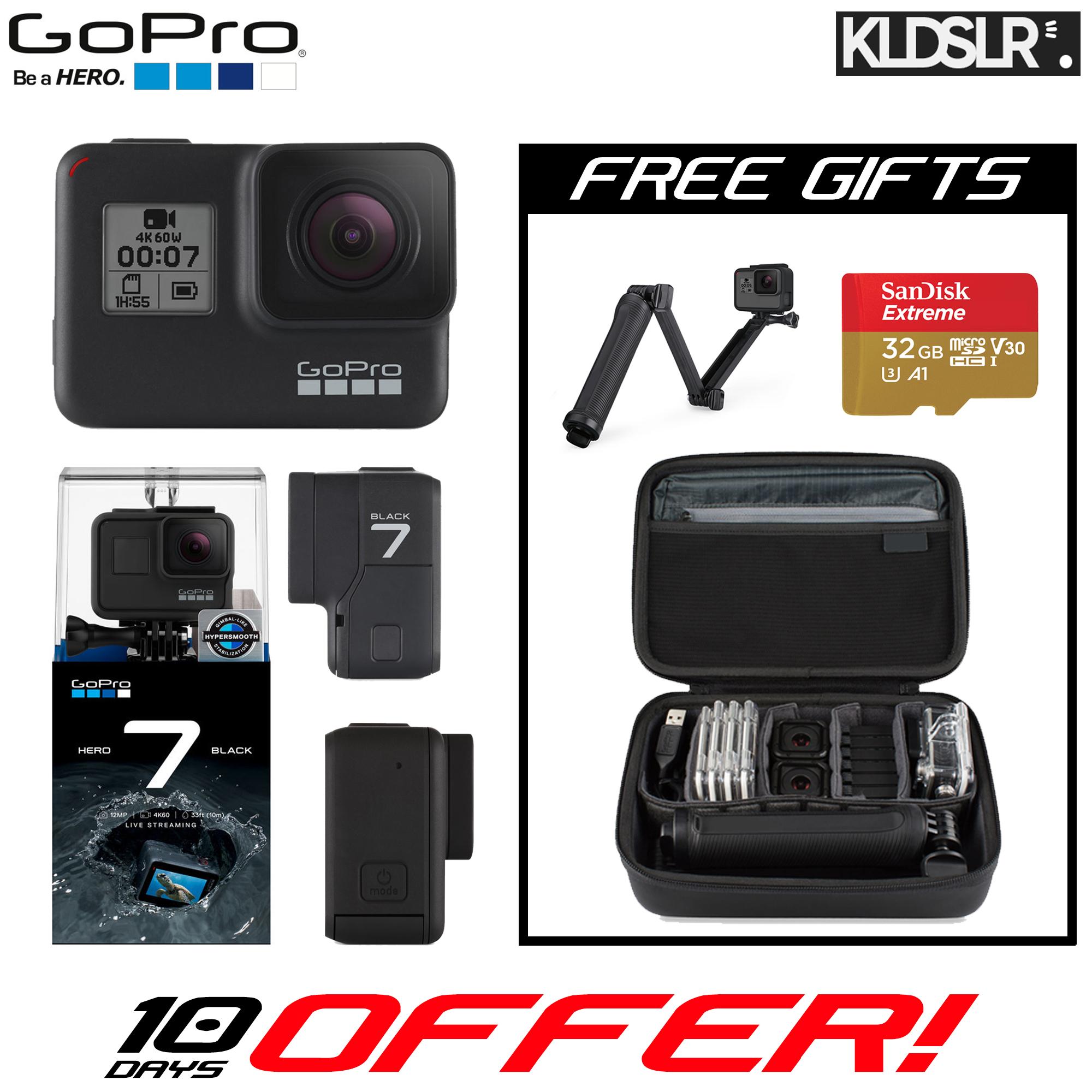 Gopro Hero7 Black Free Oem 3 Way Sandisk Extreme 32gb Microsd Card Protector Travel Bag Hero 7