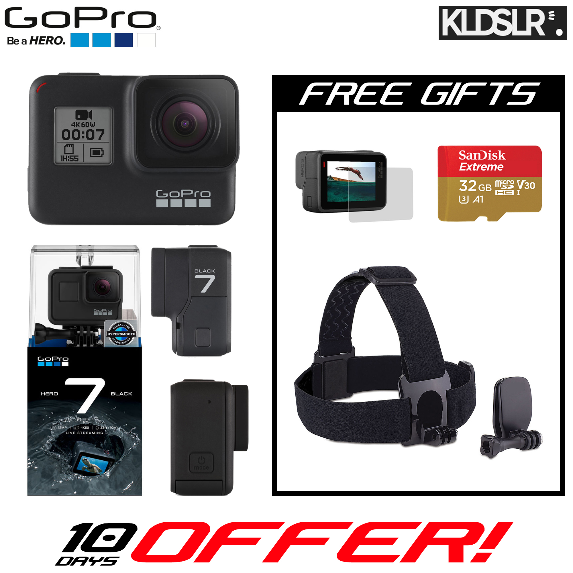 GoPro HERO7 Black (Free Head Strap + SanDisk Extreme 32GB microSD Card + Tempered Glass LCD Screen Protector) (GoPro Hero 7)