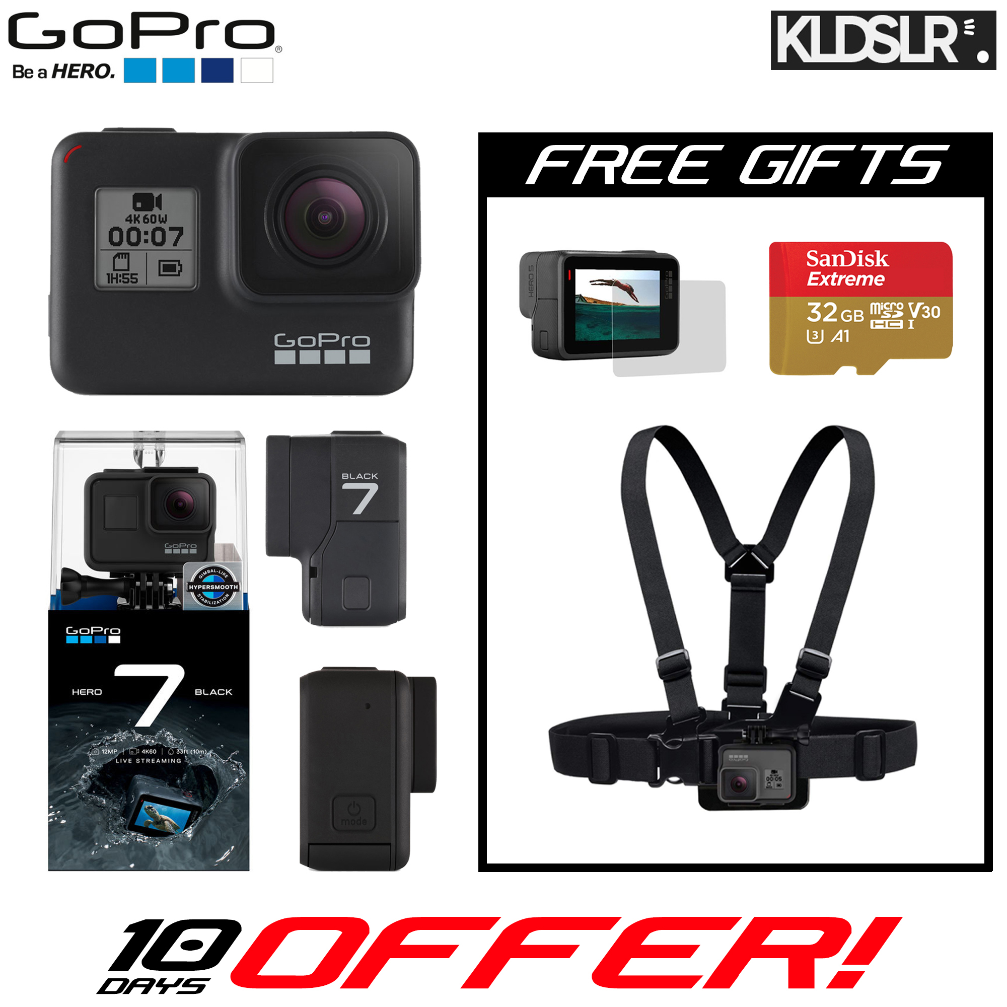 GoPro HERO7 Black (Free Chest Strap + SanDisk Extreme 32GB microSD Card + Tempered Glass LCD Screen Protector) (GoPro Hero 7)