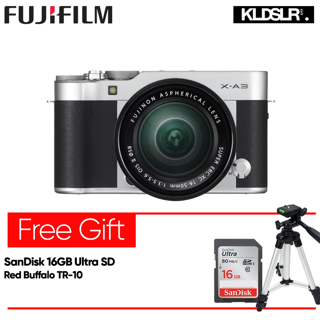Fujifilm X-A3 Mirrorless Digital Camera with 16-50mm Lens (Silver) (Fujifilm Malaysia) (XA3) (Free SanDisk 16GB Ultra SD Card)