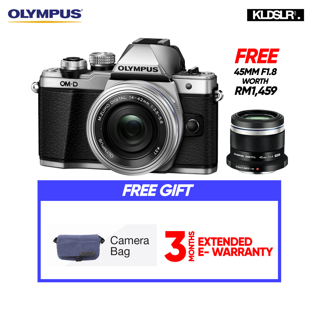 (END YEAR SALE) Olympus OM-D E-M10 Mark II Mirrorless Micro Four Thirds Digital Camera with 14-42mm EZ Lens (Silver) (Olympus Malaysia)(PWP 40-150mm R F4-5.6 Lens & Hand Grip ECG-3 For E-M10 Mark II) (To Be Confirm)
