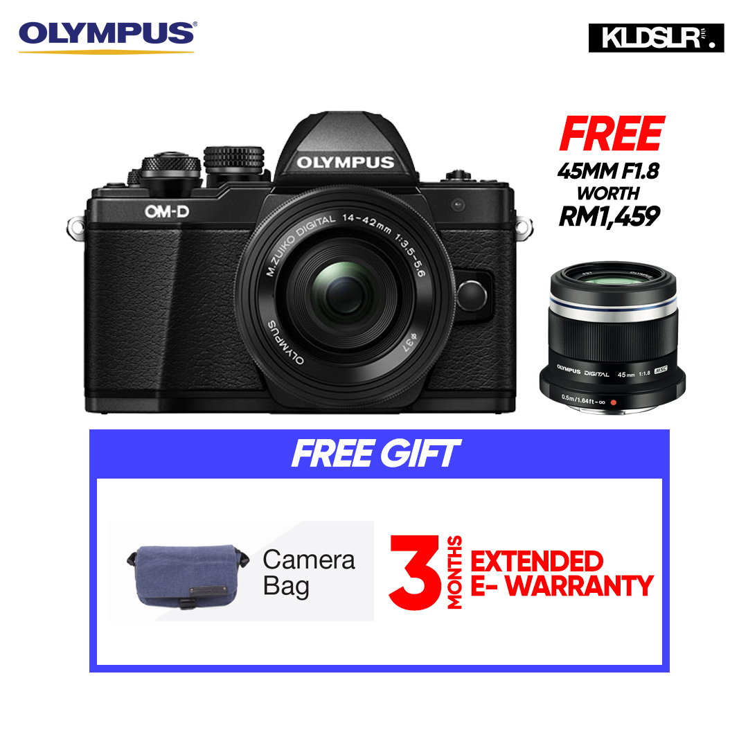 (END YEAR SALE)  Olympus OMD EM10 Mark II Mirrorless Micro Four Thirds Digital Camera with 14-42mm EZ Lens (Black) (Olympus Malaysia) (PWP 40-150mm R F4-5.6 Lens & Hand Grip ECG-3 For E-M10 Mark II)  (To Be Confirm)