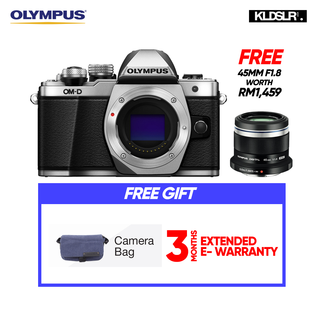 (END YEAR SALE) Olympus OMD EM10 Mark II Mirrorless Micro Four Thirds Digital Camera (Body Only, Silver) (Olympus Malaysia) (PWP 40-150mm R F4-5.6 Lens & Hand Grip ECG-3 For E-M10 Mark II)  (To Be Confirm)