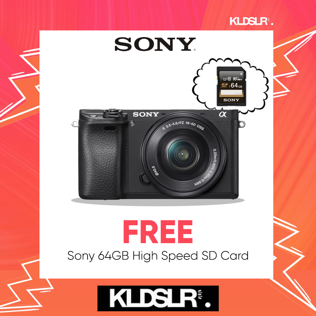 (MARCH) Sony Alpha a6300 Mirrorless Digital Camera with 16-50mm Lens (Black) (Sony Malaysia) (FREE Sony 64GB High Speed Memory Card)