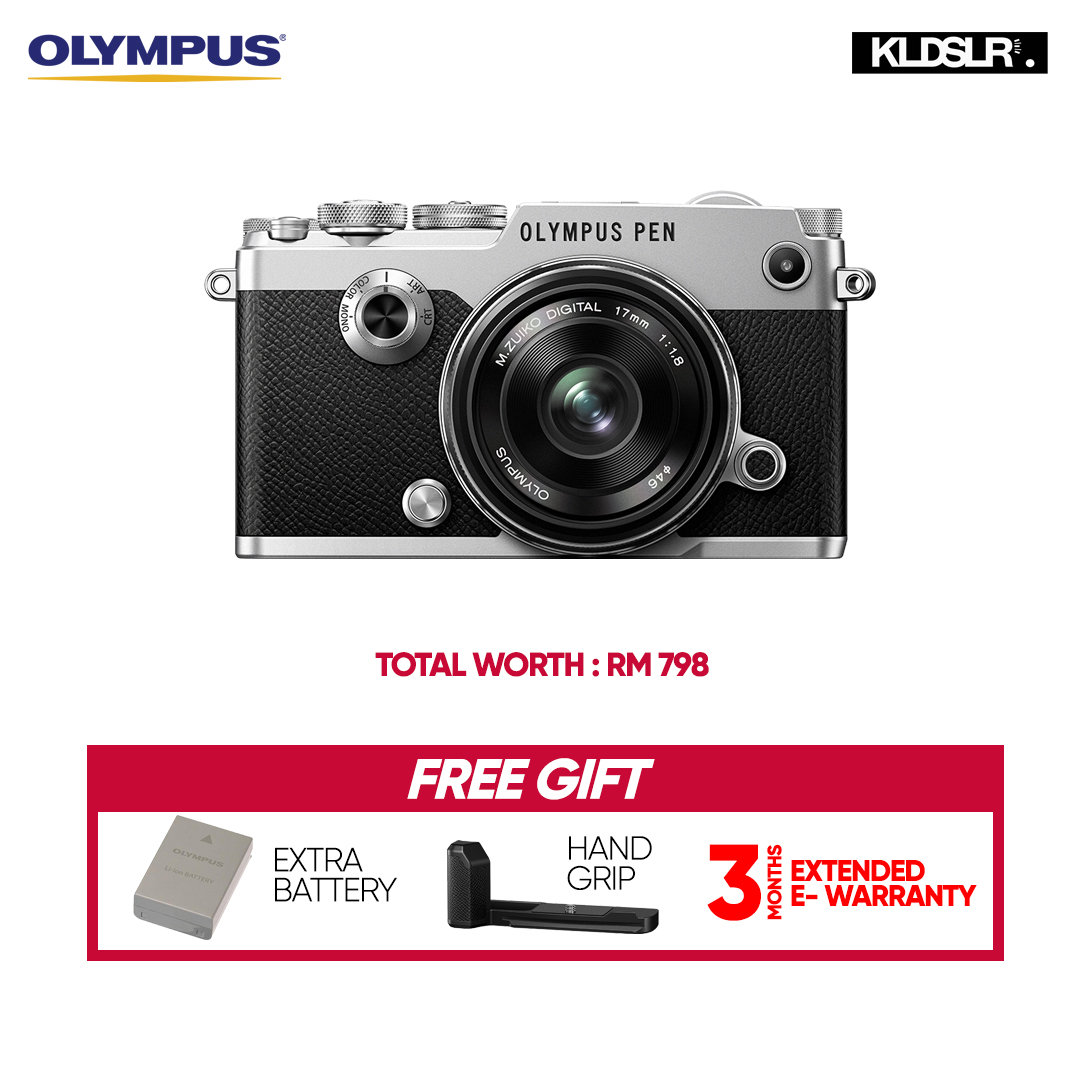 (RAYA) Olympus PEN-F Mirrorless Micro Four Thirds Digital Camera with 17mm Lens Kit (Silver) (Olympus Malaysia) (Free Extra Battery + Hand Grip)