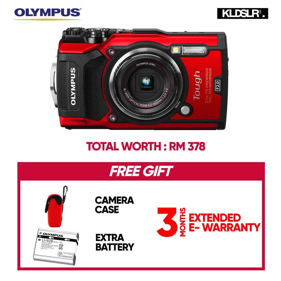 (MARCH) Olympus Tough TG-5 Digital Camera (Red) (Olympus Malaysia) (Free Camera Case + Extra Battery)