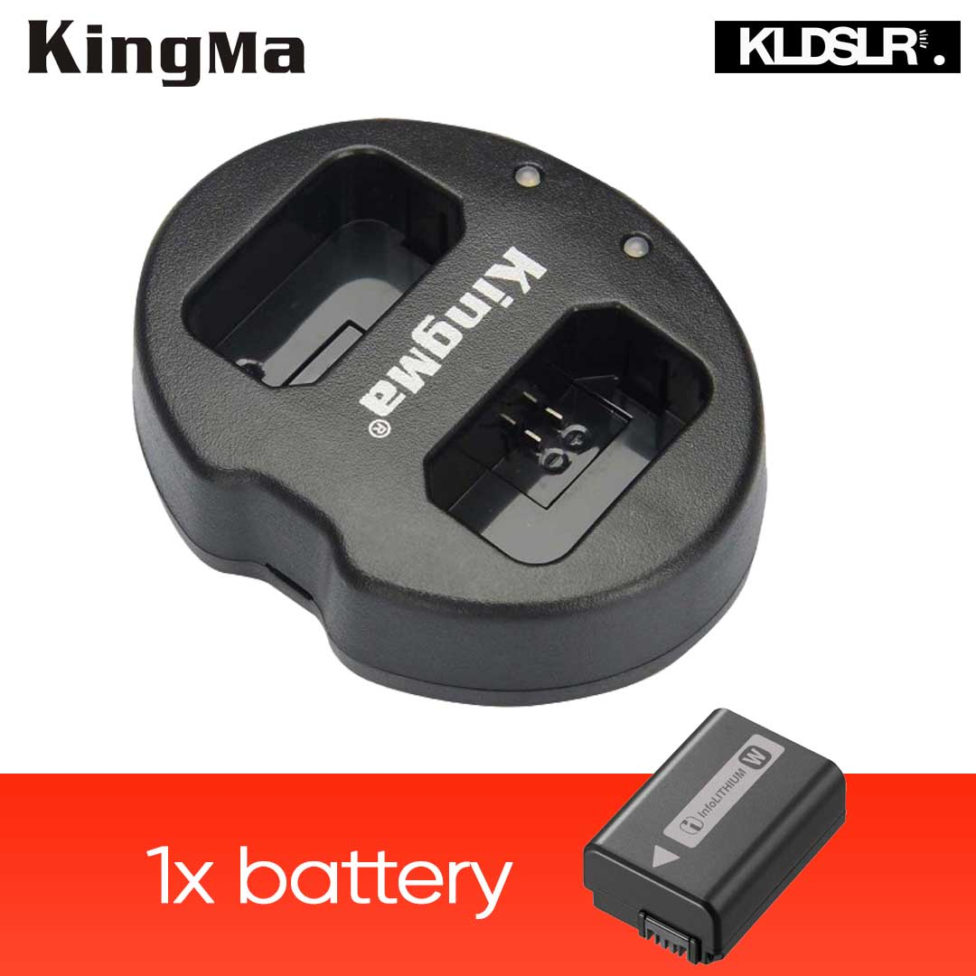(Sales) KingMa Dual Charger + 1x Replacement FW-50 Battery for A6000 A7 Nex Series