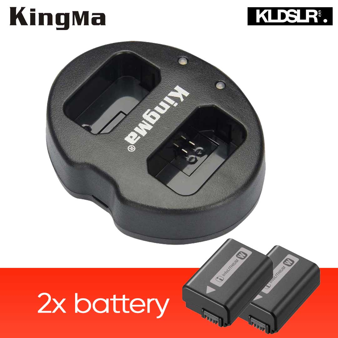 (Sales) KingMa Dual Charger + 2x Replacement FW-50 Battery for A6000 A7 Nex Series