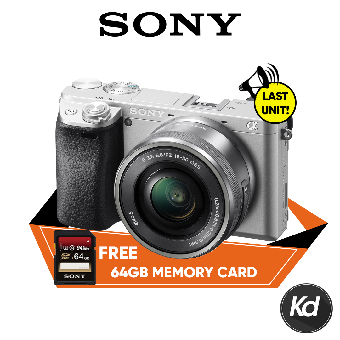 (RAYA) (LAST CALL) Sony Alpha a6300 Mirrorless Digital Camera with 16-50mm Lens (Silver) (Sony Malaysia) (FREE Sony 64GB High Speed Memory Card)