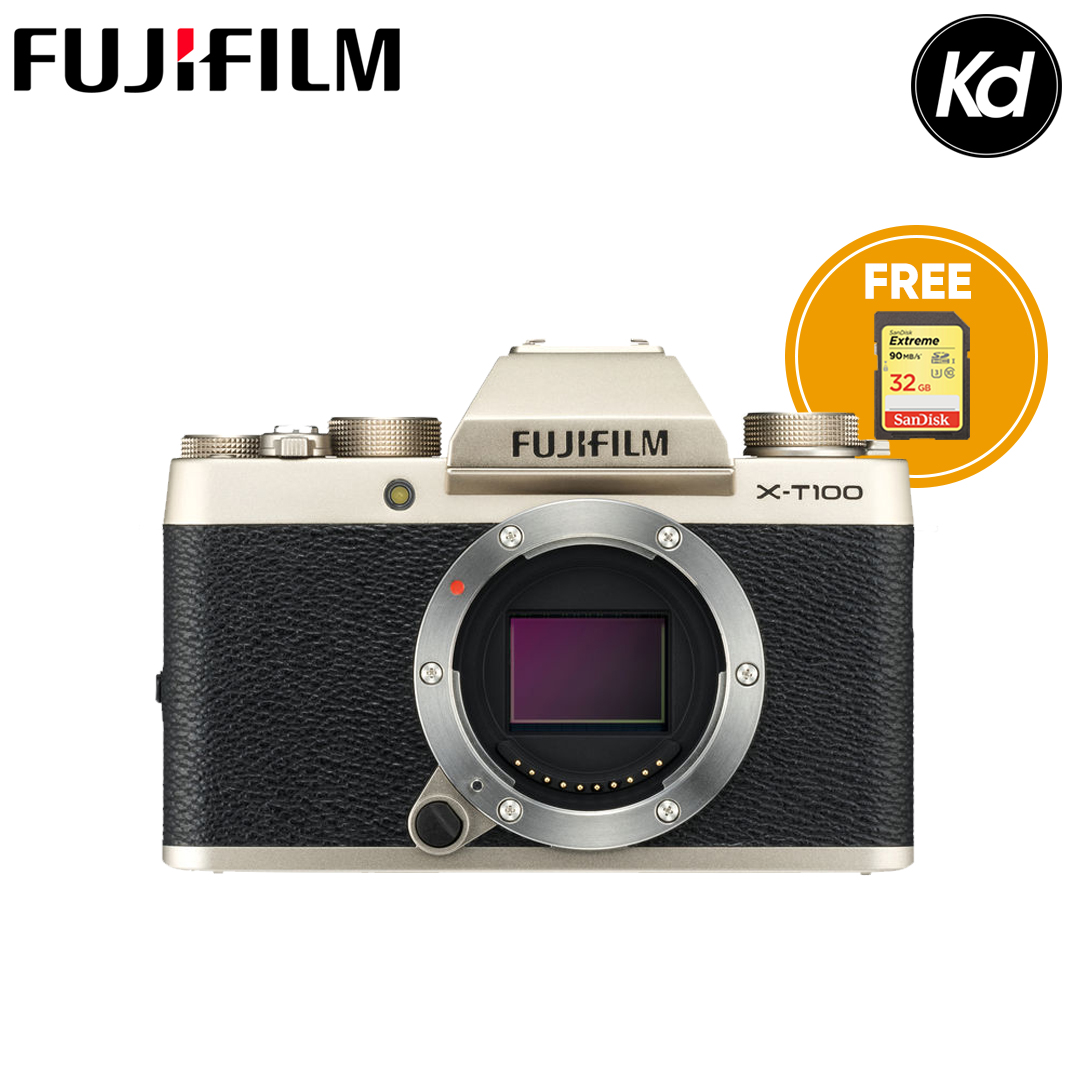 FUJIFILM X-T100 Mirrorless Digital Camera (Body Only, Champagne Gold) (FREE 32GB High Speed Memory Card) (Fujifilm Malaysia) (XT100)