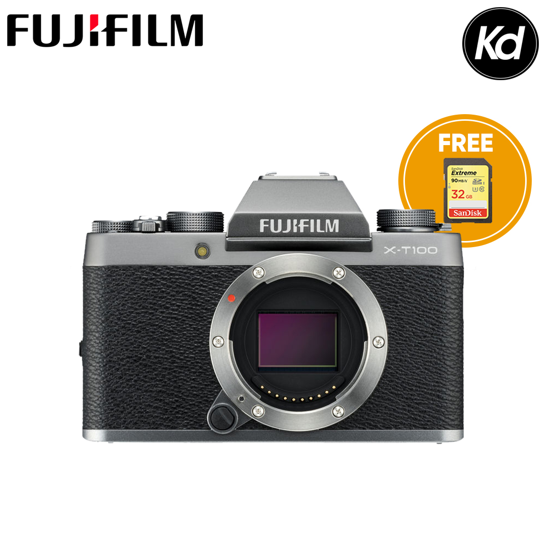 FUJIFILM X-T100  (Body Only, Dark Silver) (FREE 32GB High Speed Memory Card) (Fujifilm Malaysia) (XT100)