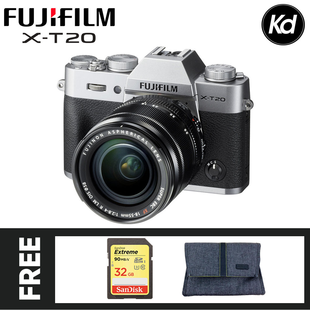 Fujifilm X-T20 Mirrorless Digital Camera with 18-55mm Lens (Silver) (FREE 32GB High Speed Memory Card & Camera Bag) (Fujifilm Malaysia) (XT20)