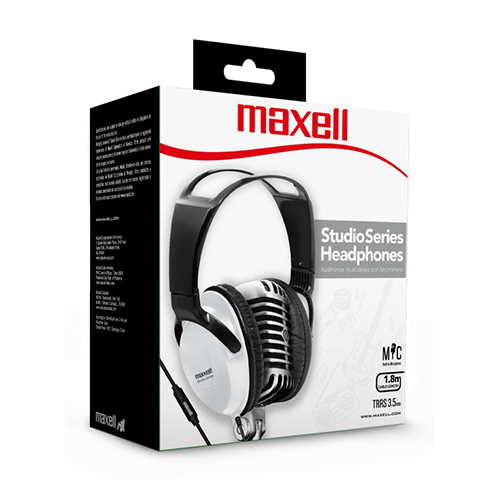 MAXELL StudioSeries La Full Size Overhead Headphones With Microphone (White)