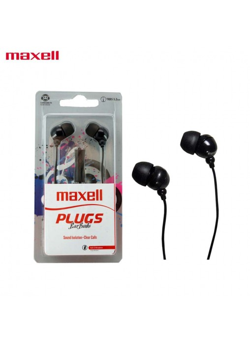 MAXELL Plugs Ear Buds In Ear Stereo Buds with Microphone (BLK)