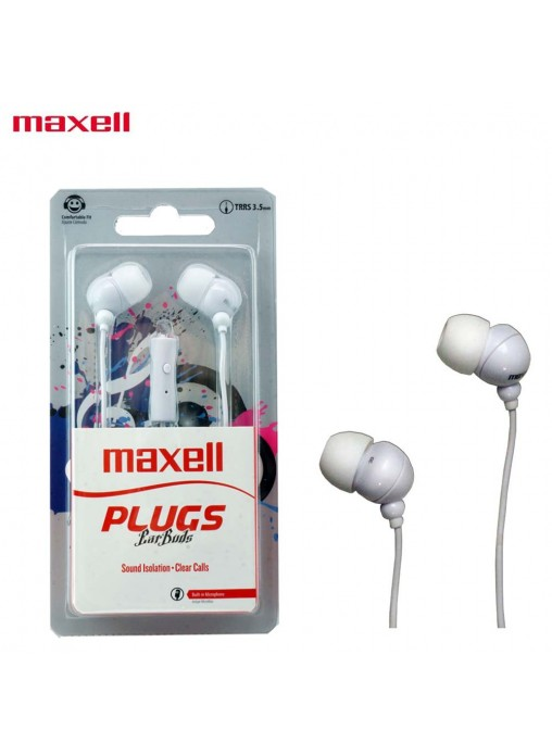 MAXELL Plugs Ear Buds In Ear Stereo Buds with Microphone (WHT)