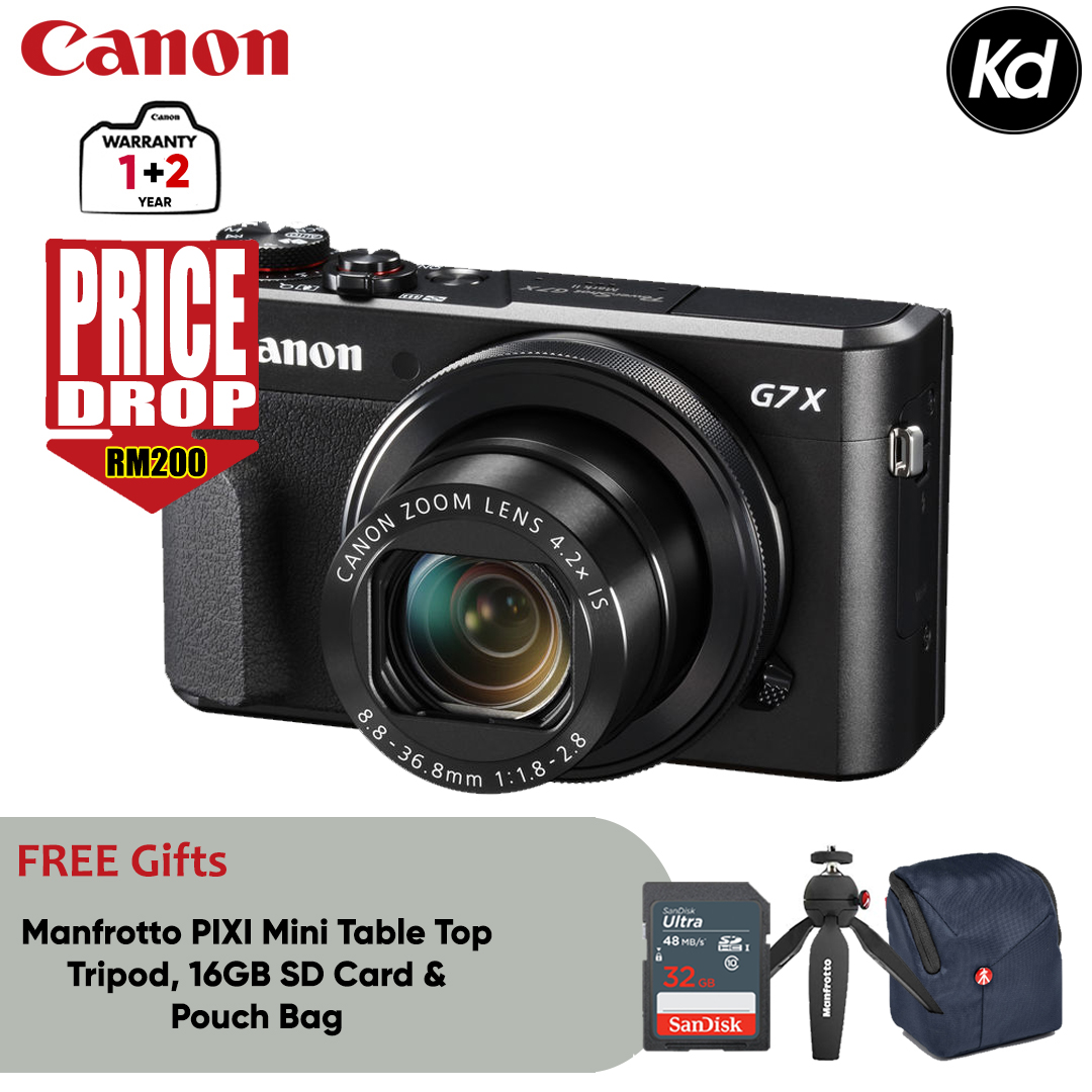 Canon PowerShot G7X Mark II Digital Camera (Canon Malaysia) (FREE 32GB Memory Card, Pouch Bag & Manfrotto PIXI Mini Table Top Tripod) (PRICE DROP RM200) (G7XII / G7X2)