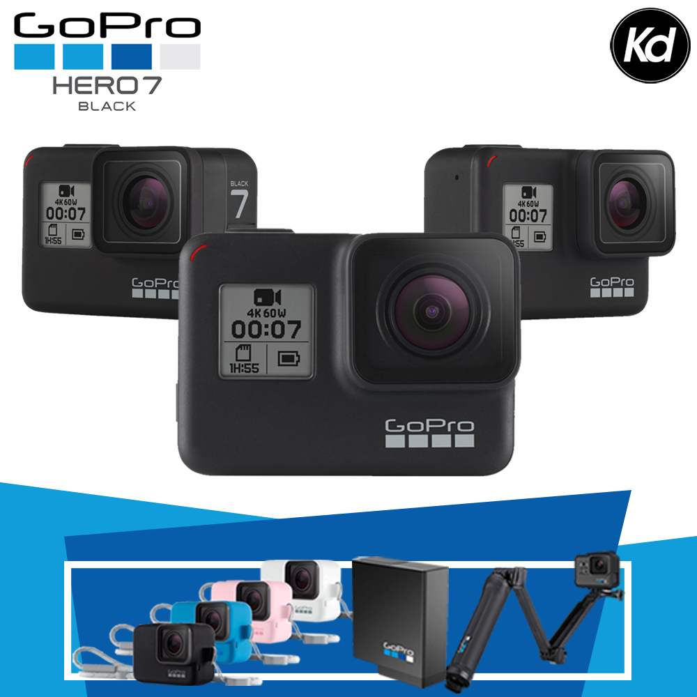 (MERDEKA) GoPro HERO7 Black (GoPro Hero 7) (Package Includes Extra Original Battery, Original GoPro 3-Way & Original Sleeve & Landyard)