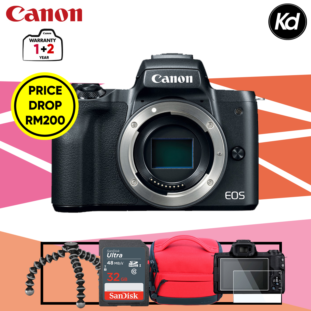 Canon EOS M50  (Body Only, Black) (Canon Malaysia) (FREE 32GB Memory Card, Camera Bag, Screen Protector & Flexible Tripod)