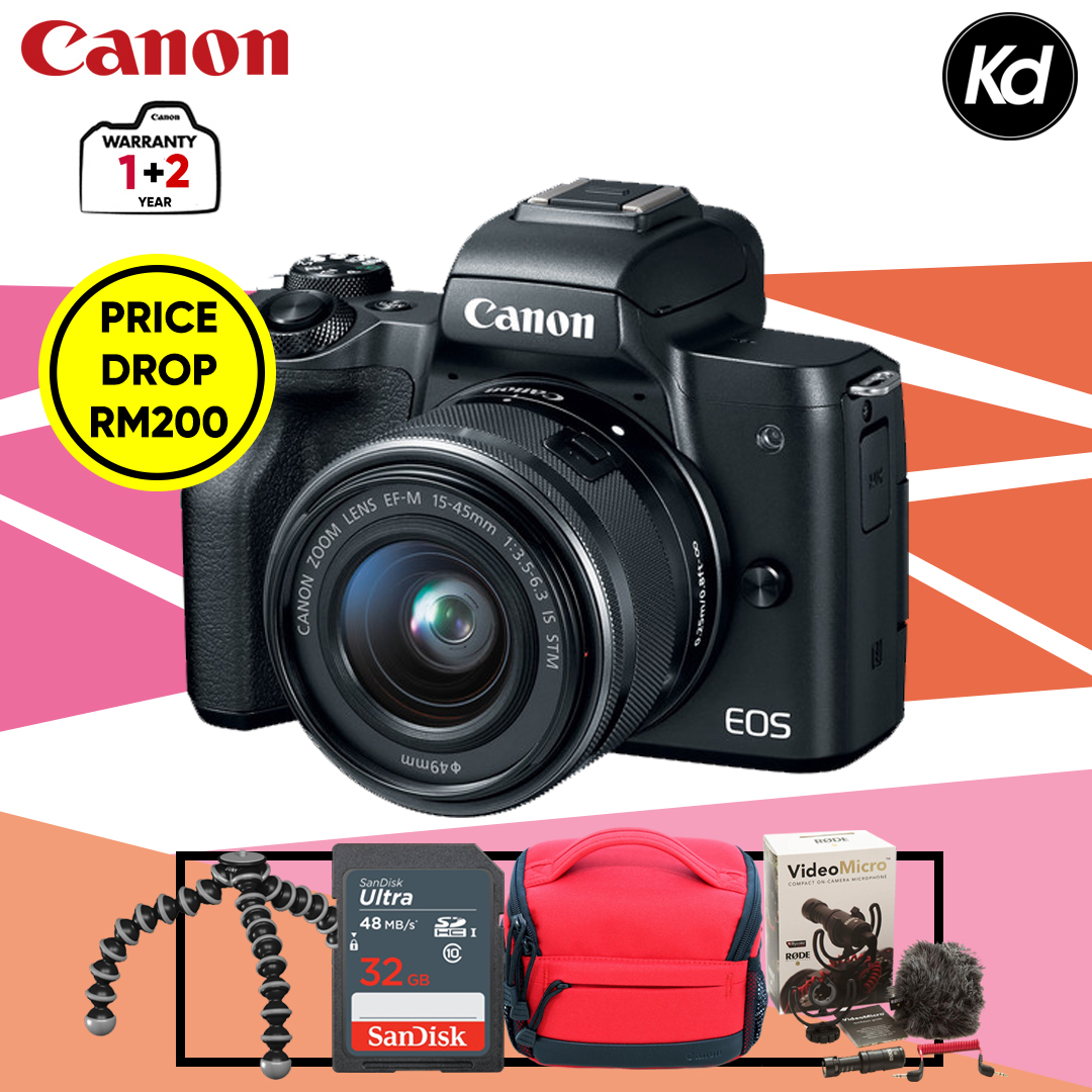 (MIDYEAR) Canon EOS M50 with 15-45mm Lens (Black) (Canon Malaysia) (FREE 32GB Memory Card, Camera Bag, Rode VideoMicro Microphone & OEM Flexible Mini Tripod) (PRICE DROP RM200)