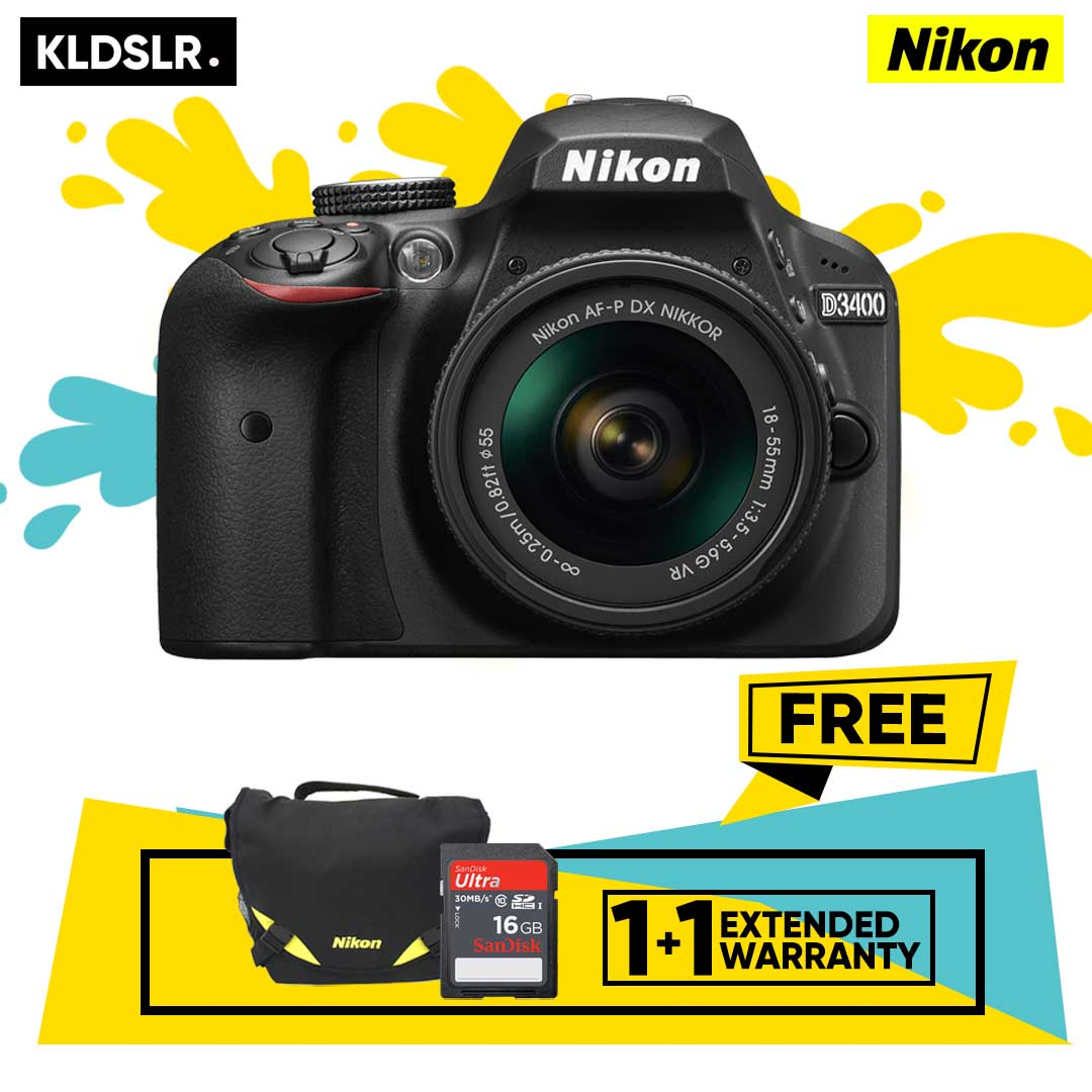 Nikon D3400 DSLR Camera (Black) (Kit Lens 18-55mm VR) (Nikon Malaysia) (Free 16GB Card + Nikon Bag)
