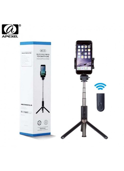 APEXEL 3-in-1 Bluetooth Selfie Stick with Tripod Stand & Rotatable Phone Holder