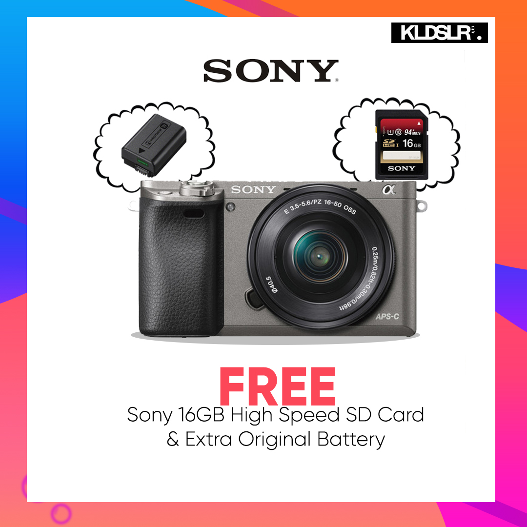 Sony a6000  with 16-50mm Lens (Graphite) (Sony Malaysia) (Free Sony 16GB High Speed Memory Card & Extra Original Battery)