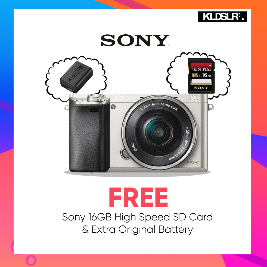 Sony Alpha a6000 Mirrorless Digital Camera with 16-50mm Lens (Silver) (Sony Malaysia) (Free Sony 16GB High Speed Memory Card & Extra Original Battery)