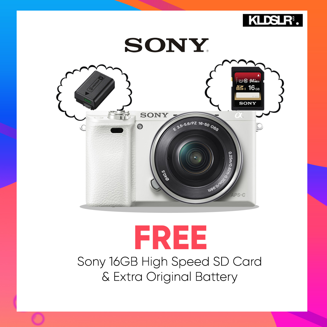 Sony Alpha a6000 Mirrorless Digital Camera with 16-50mm Lens (White) (Sony Malaysia) (Free Sony 16GB High Speed Memory Card & Extra Original Battery)