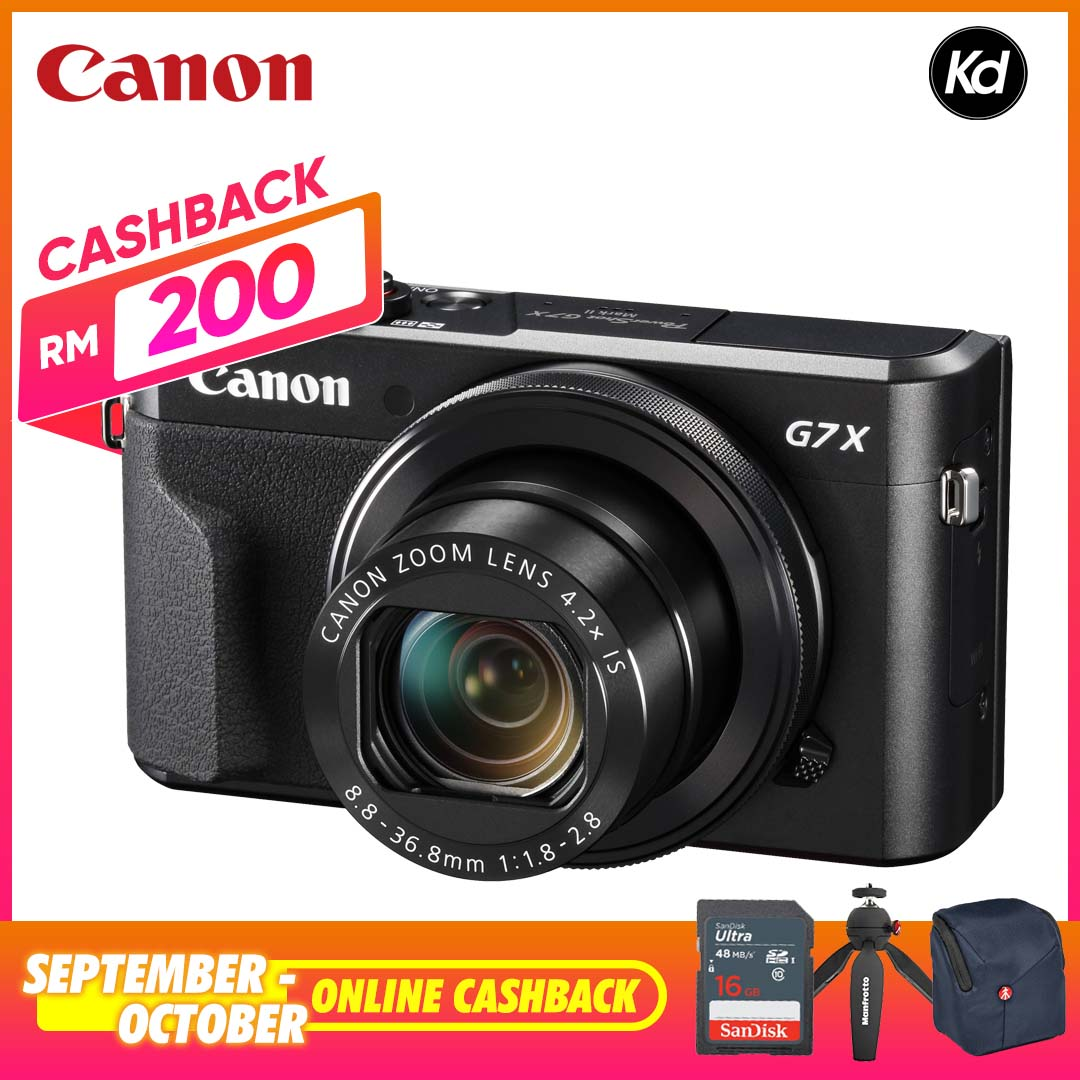 Canon PowerShot G7X Mark II Digital Camera (Canon Malaysia) (FREE 32GB Memory Card, Pouch Bag & Manfrotto PIXI Mini Table Top Tripod) (ONLINE CASHBACK RM200) (G7XII / G7X2)