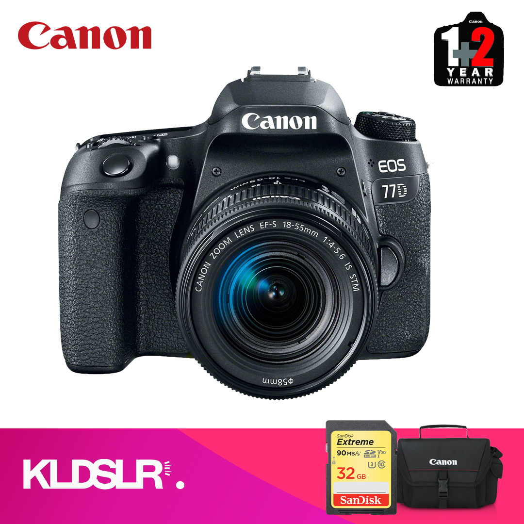 Canon EOS 77D DSLR Camera with 18-55mm Lens  (Canon Malaysia) (FREE 32GB SD Card & Canon Bag)