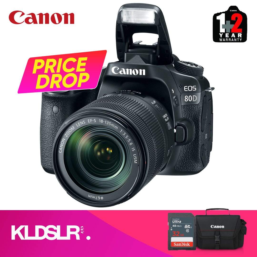 Canon EOS 80D DSLR Camera with 18-135mm IS USM Lens (Canon Malaysia) (FREE 32GB Memory Card & Camera Bag)
