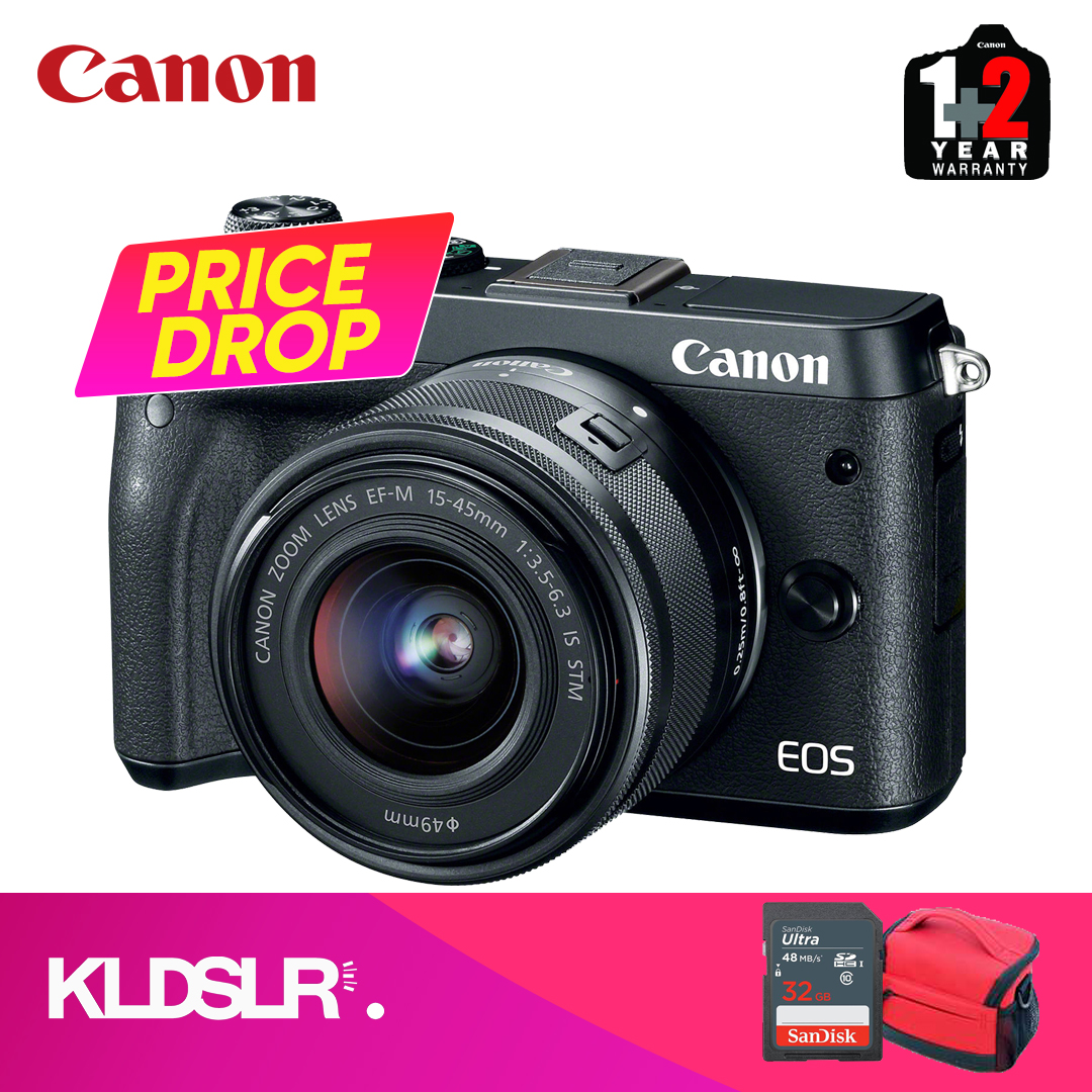 Canon EOS M6  with 15-45mm Lens (Black) (Canon Malaysia) (FREE 16GB Memory  Card & Camera Bag)