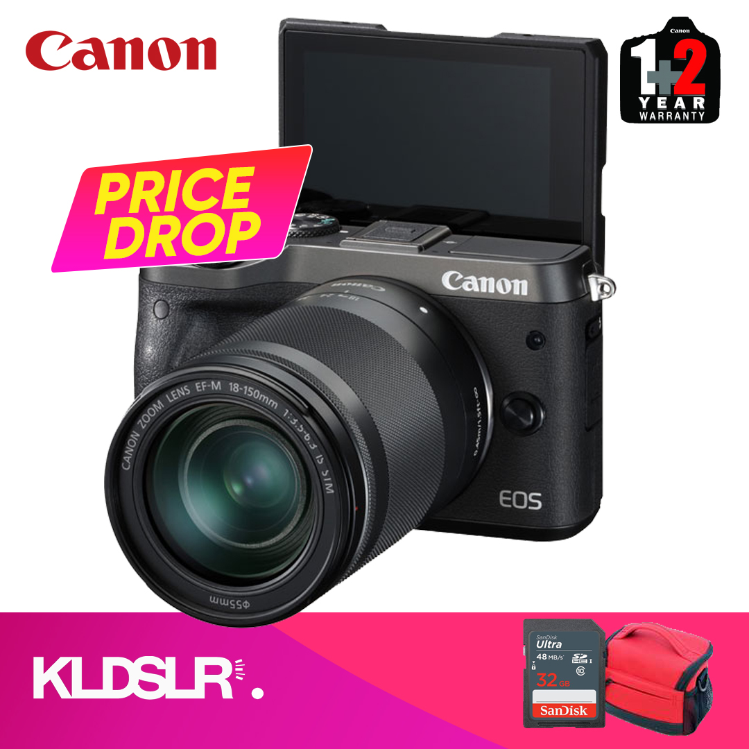 Canon EOS M6  with 18-150mm Lens (Black) (Canon Malaysia) (FREE 16GB Memory  Card & Camera Bag)