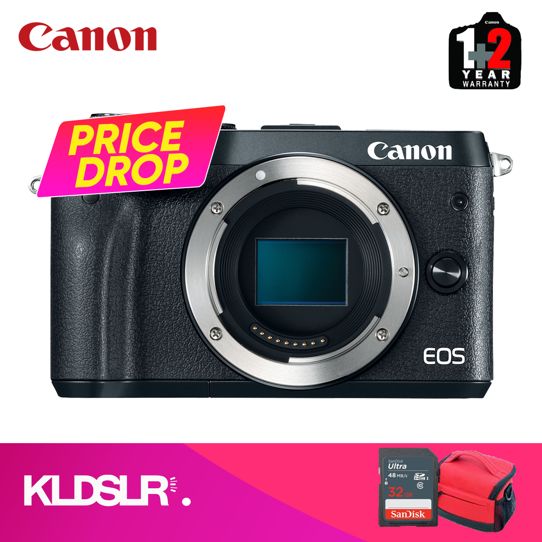 Canon EOS M6 Mirrorless Digital Camera (Body Only) (Black) (Canon Malaysia) (FREE 16GB Memory  Card & Camera Bag) (NOVEMBER PRICE DROP)