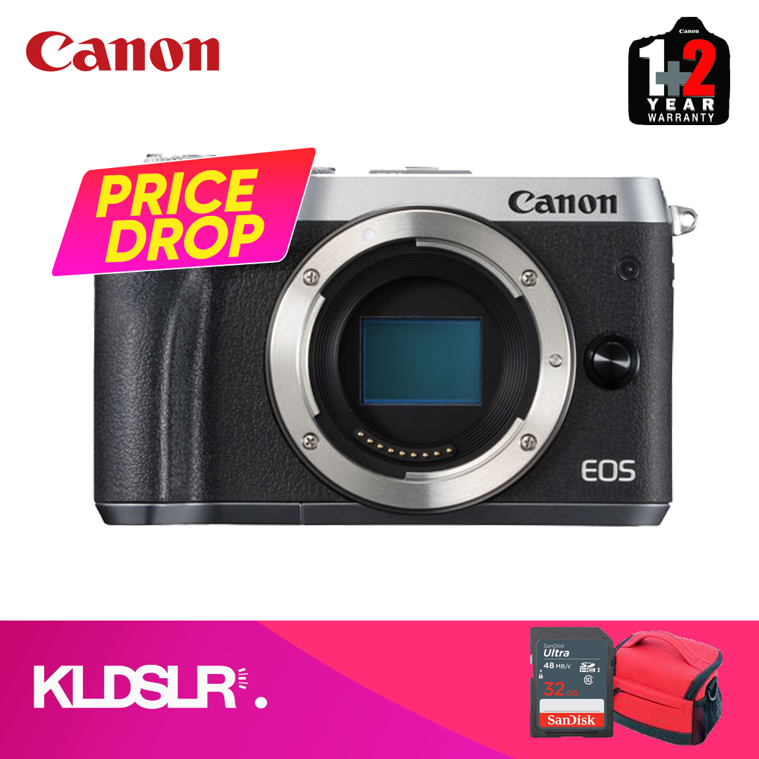 Canon EOS M6  (Body Only) (Silver) (Canon Malaysia) (FREE 16GB Memory  Card & Camera Bag)