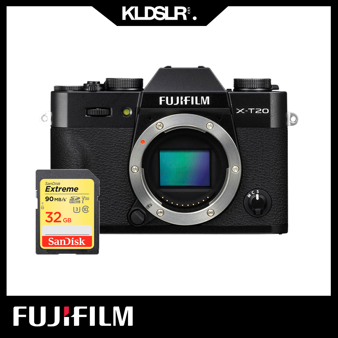 Fujifilm X-T20  (Body Only) (Black) (Fujifilm Malaysia) (FREE 32GB High Speed Memory Card) (XT20)